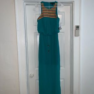 City triangle m medium long junior dress teal gree